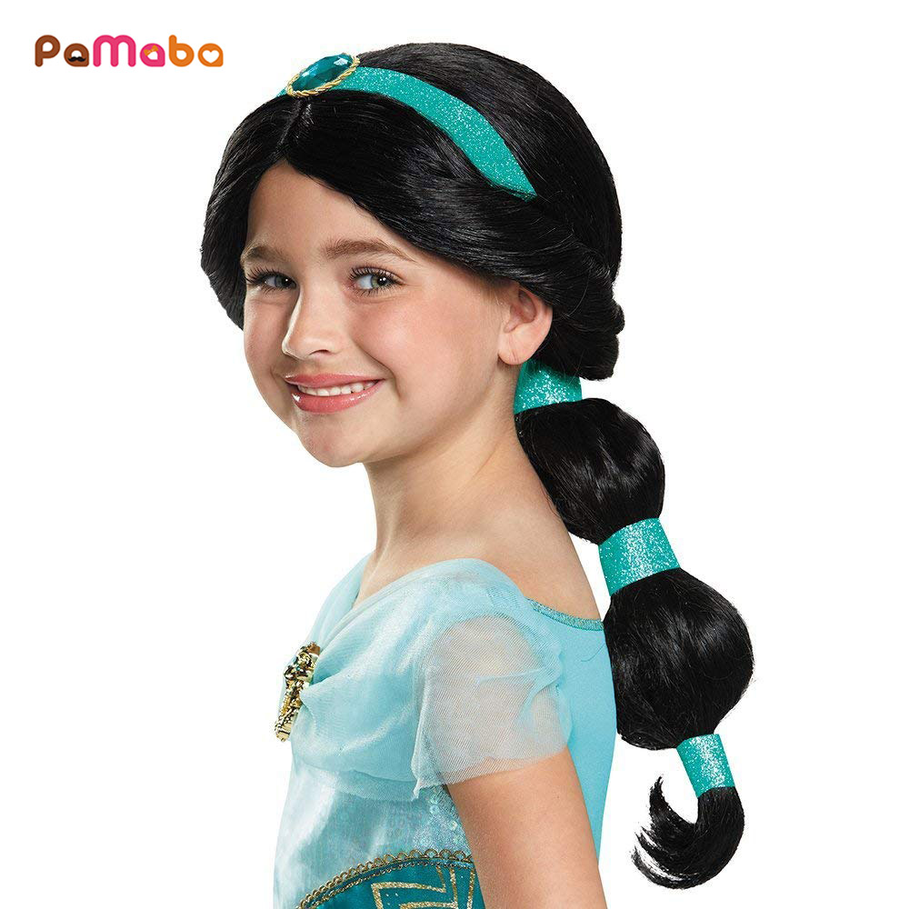 PaMaBa Kid Princess Jasmine Human Hair Halloween Cosplay Accessories Girls Rapunzel Cinderella Dress Up Wig Child Party Supplies