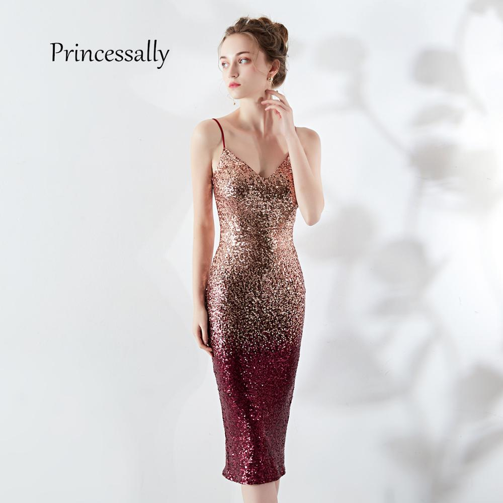 Vestiti Cerimonia Donna.New Cocktail Dress Knee Length Sequin Spaghetti Straps V Neck