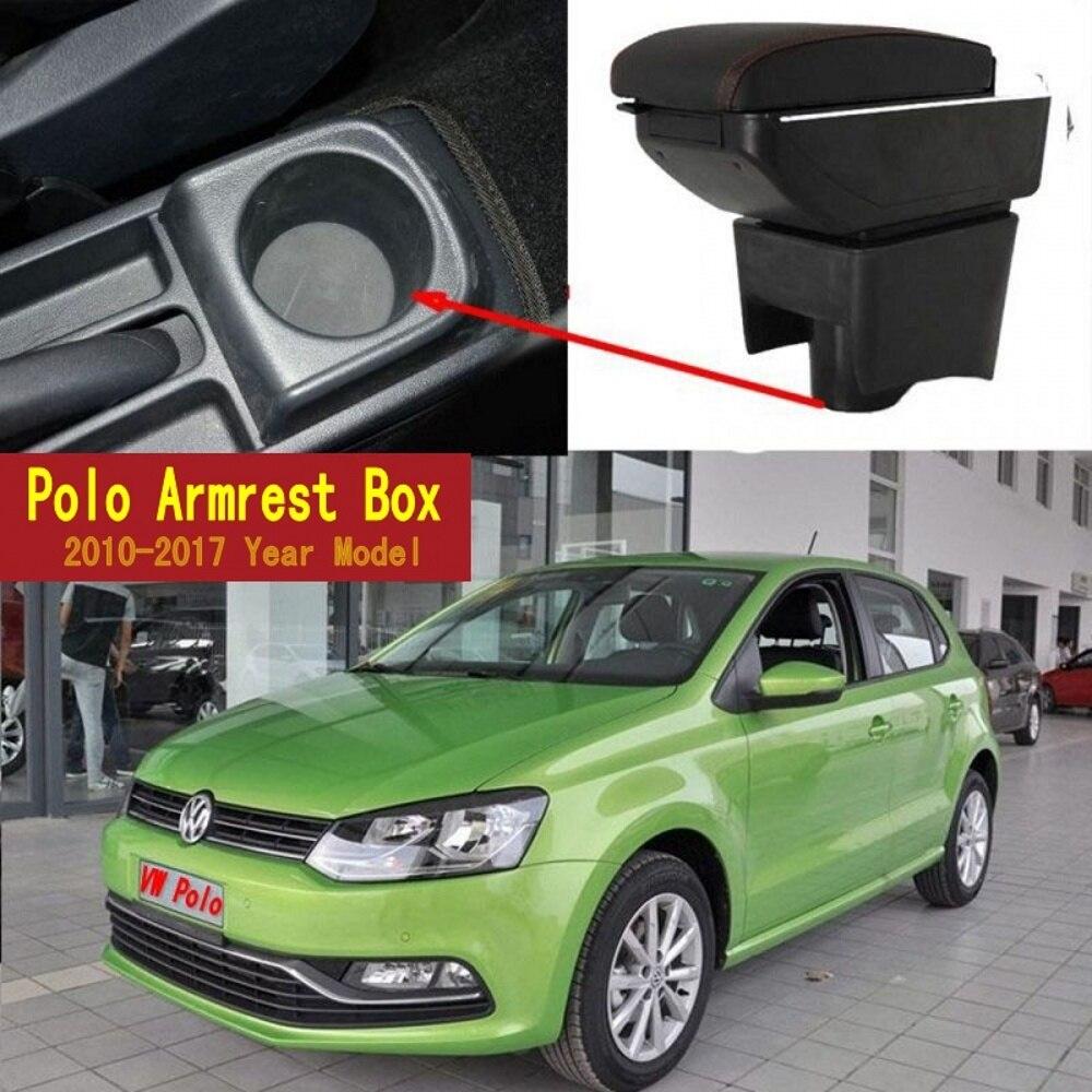 Pour Volkswagen Polo Mk5 6R Vento 2010-2018 double couche accoudoir bras repos Center Console boîte de rangement bac 2012 2013 2014