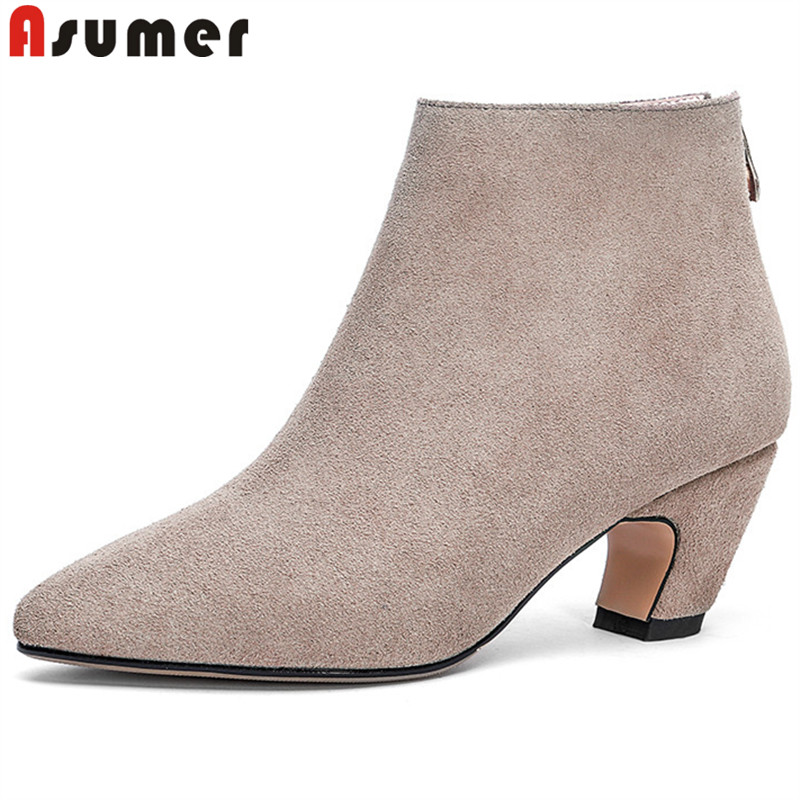 ASUMER big size 33-43 fashion autumn winter boots women pointed toe zip suede leather boots black classic ankle boots 2018 new asumer black fashion 2018 autumn winter boots women round toe zip mixed colors ankle boots flat with suede leather boots