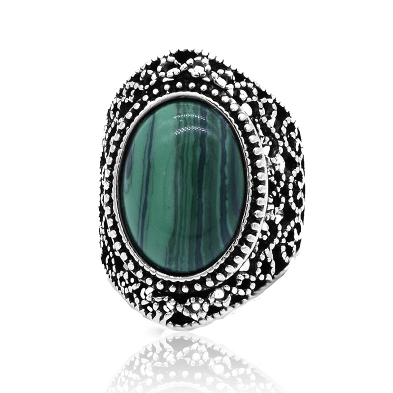 Bohemian Vintage Stone Ring for Women High Quality Fashion Silver Color Big Female Anniversary