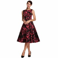 Belle Poque Womens Summer Dress 2017 Floral Retro Vintage 50s Casual Party Robe Rockabilly Dresses Plus