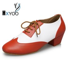 HXYOO 2017 New Model Men Latin Dance Shoes  Ballroom Shoes Salsa Tango Orange 2.5 or 4 cm heel L17