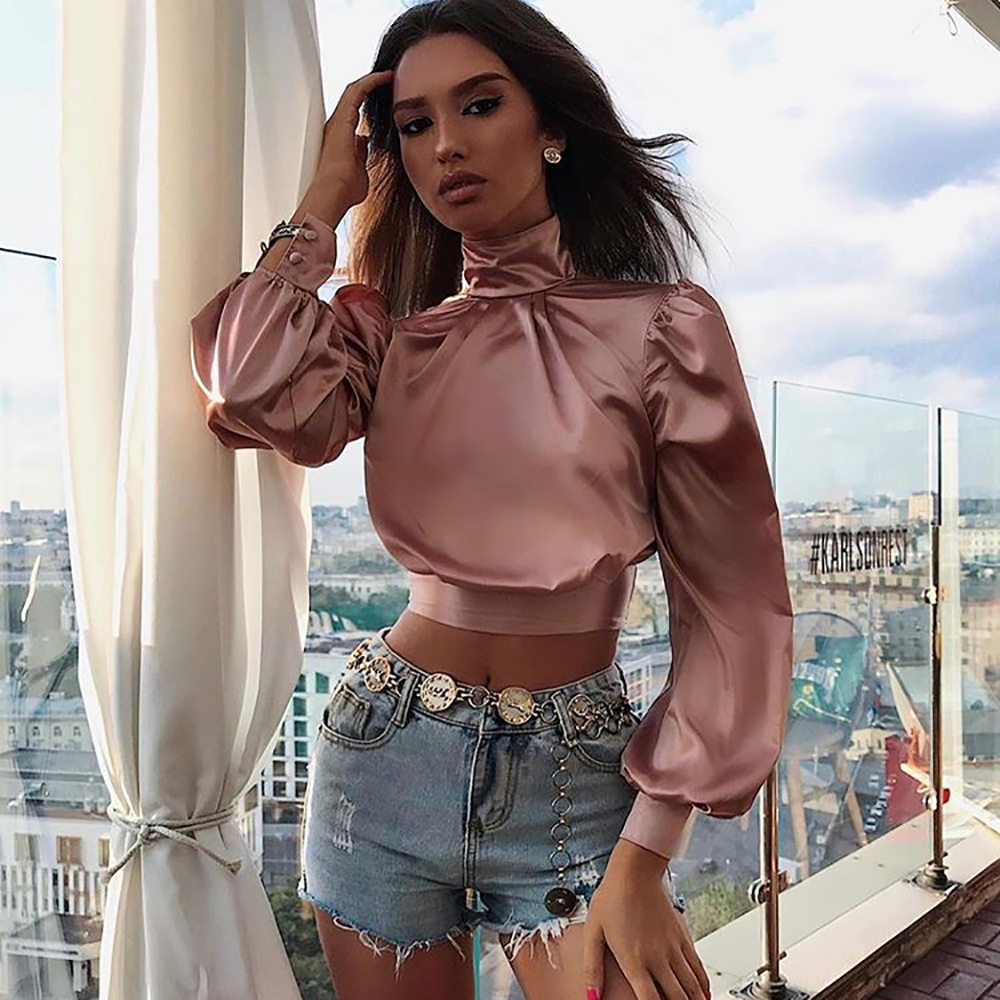 WannaThis Sexy Backless Bow Bandage Reflective Silk Women Crop Top Lantern Sleeve Hinght Neck Solid Shirt Fashion Autumn New2019