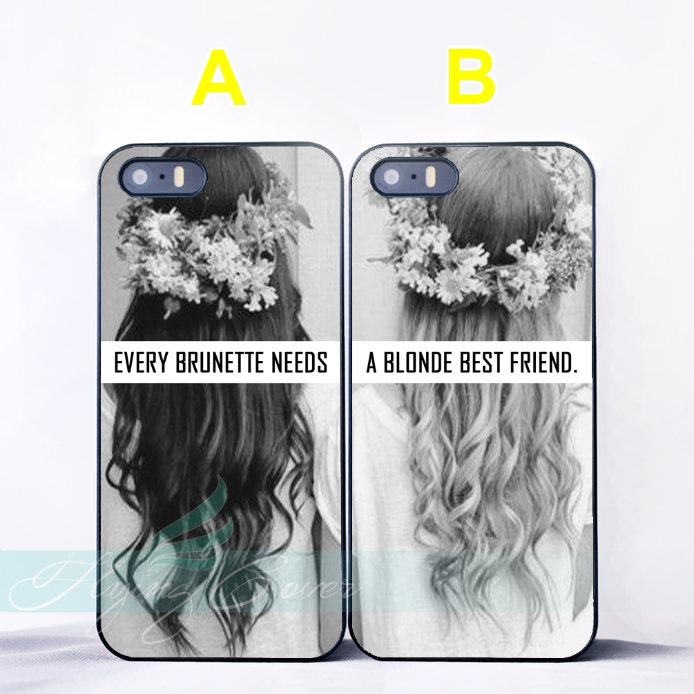 Coque Brunette Blonde Flower Best Friend Couple Cases for iPhone X 8 7 6 6S 7 Plus SE 5S 5C 5 4S 4 Case for iPod Touch 6 5 Cover