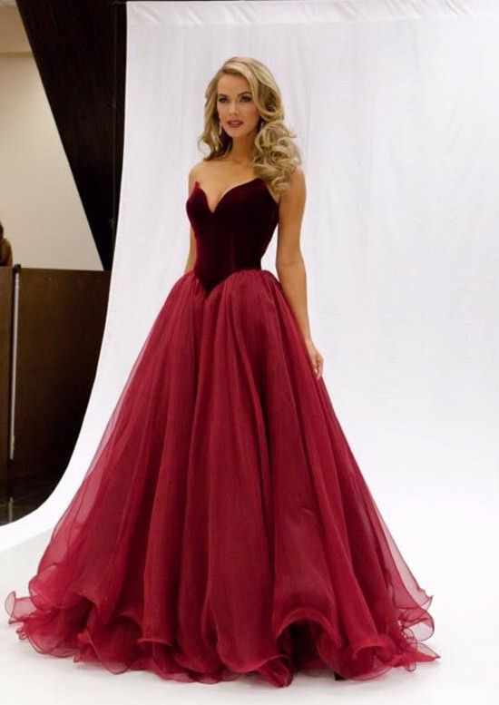 2016 Charming Gorgeous Strapless Wine Red Prom Dresses Long Burgundy Sweetheart Evening Dress Gd106 In From Weddings Events On Aliexpress