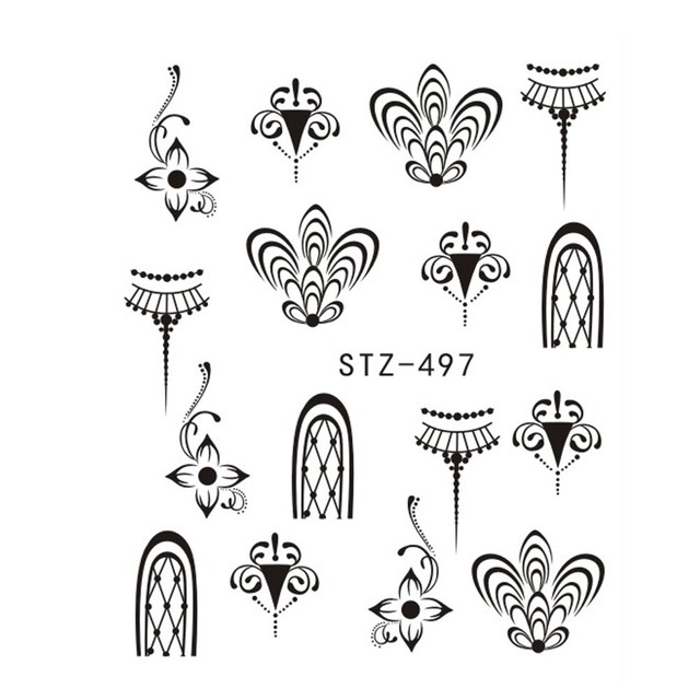 1PCS Popular Black Sticker Nail Art Necklace Jewelry Cat Butterfly Pendant Manicure Tips Nail Water Transfer Decals CHSTZ497-500