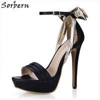 Sorbern Gold Knot Black High Heels 14Cm Sandals For Women S Platforms 2018 Fashion Sandal Customized