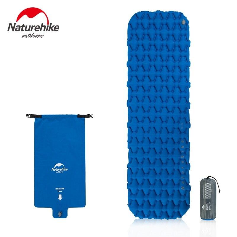 Naturehike Inflável Esteira de Acampamento Almofada de Dormir Com Travesseiro Air Bag New Mão Imprensa Acampamento Colchão Inflável Para Caminhadas Tenda Esteiras