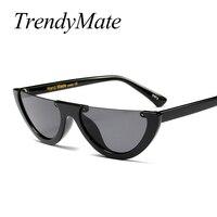 Cool Trendy Half Frame Rimless Cat Eye Sunglasses Women 2017 Fashion Brand Designer Sun Glasses For