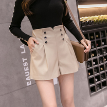 Black PU Leather Shorts Women Casual Pockets Buttons High Waist Office Shorts Korean Fashion Autumn Winter Pleated Short Femme black pleated design drawstring waist shorts