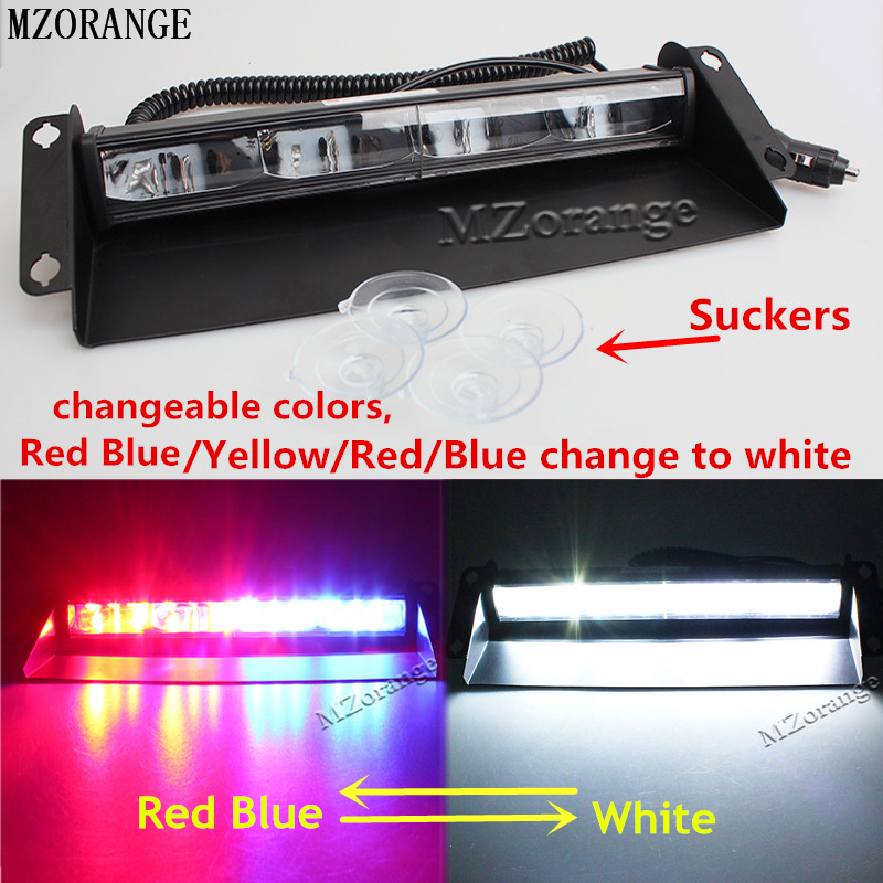 MZORANGE 12 leds 24v 36W Car Warning Light Red Blue White Truck Flash Light Police Strobe Light Dash Windshield Emergency Light ldrive 1pcs 36w 12v 24v car flash light red blue led cob car windscreen warning light police emergency flasher strobe lamp