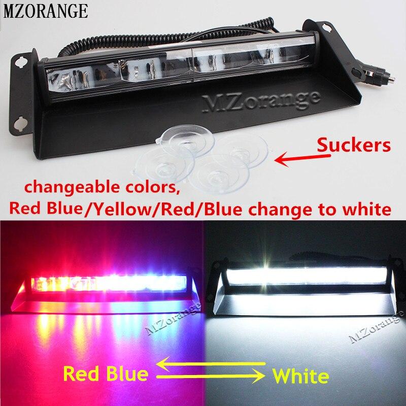 MZORANGE 12 leds 24v 36W Car Warning Light Red Blue White Truck Flash Light Police Strobe Light Dash Windshield Emergency Light