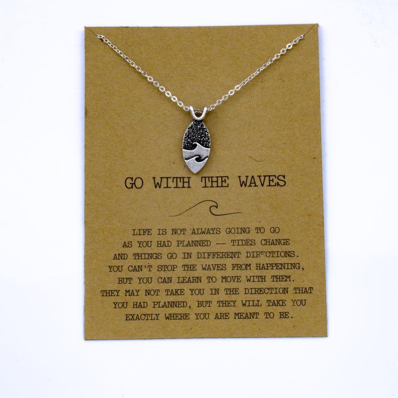 """SanLan 1 шт идут в комплекте ожерелье с подвеской """"волны"""" Океан ювелирные изделия - Окраска металла: 02"""