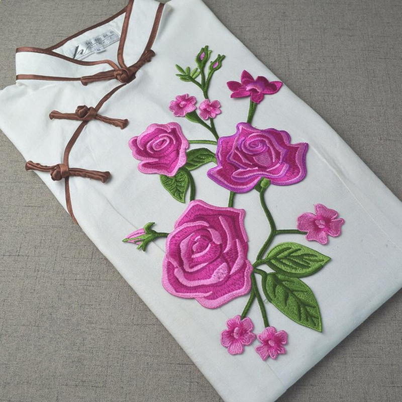 5Designs 18*33cm Rose Applique Flowers Patch Embroidered Sew Iron on Clothes Bags Handmade DIY Craft Ornament Fabric Sticker