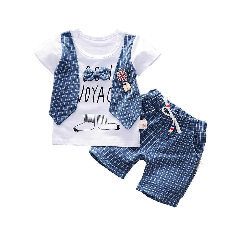 Baby Boys Girls Fashion Summer Clothing Sets Children T-shirt And Shorts 2Pcs Gentleman Suit Pure Cotton England ToddlerTwinset