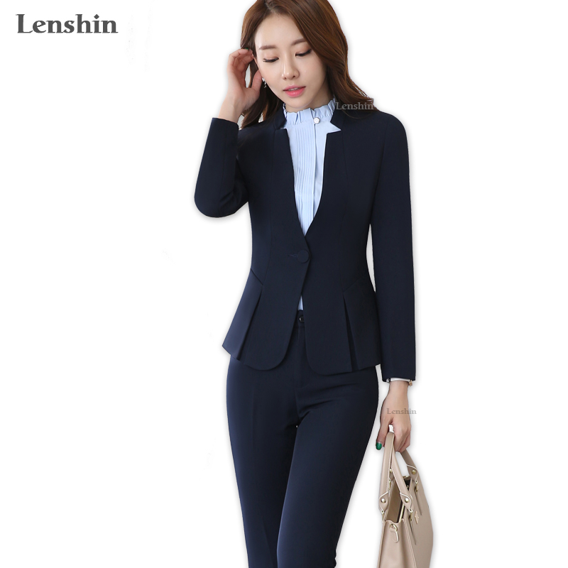 2 piece Gray Pant Suits Formal Ladies Office OL Uniform Designs Women elegant Business Work Wear Jacket with Trousers Sets 1