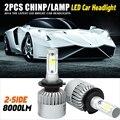 Car Headlight Kit H7 H4 H11 HB3 9005 HB4 9004 H13 72w/set Single Beam High Low Beam COB Chips 12V 24V For