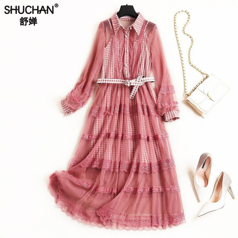 Femmes 2019 Shuchan Pour Robe Ceintures Noir Qualité De Chemise Turn rouge Supérieure Designer Robes Mi Style 10202 down mollet Preppy Collar wxqvEwt5r