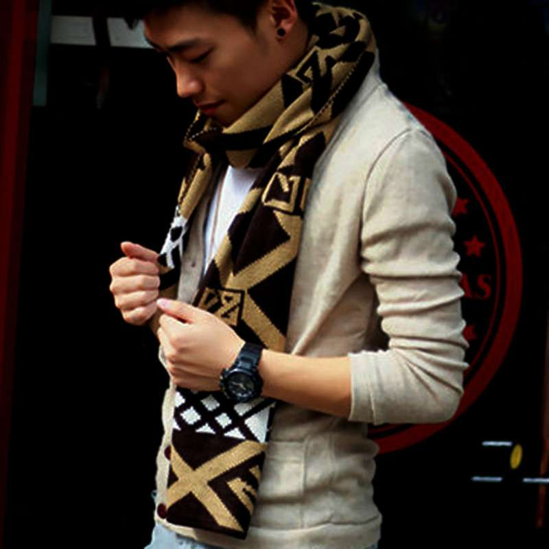 Winter Scarf Men Luxury Brand Casual Patchwork font b Tartan b font Foulard Knitted Wool Scarf