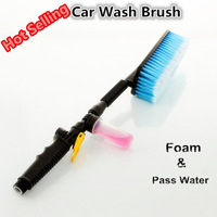 Free Shipping Car Wash Brush Retractable Long Handle Switch With Water Flow Foam Gun Soft Bristle