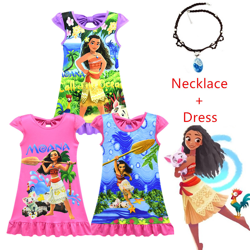 Christmas Princess.2019 New Moana Dress Baby Girl Clothes Little Girl Vaiana Dress Christmas Princess Dress Beach Costume With Necklace 3 9y