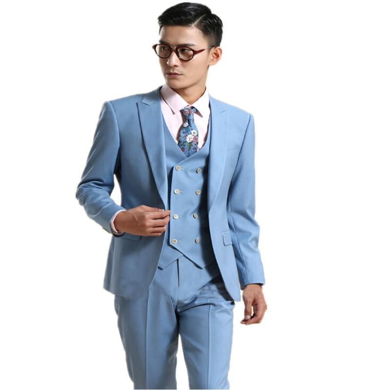 Latest Coat Pant Designs Light Blue Formal Double Breasted Custom Groom Tuxedo Wedding Men Suits ...