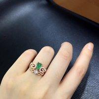 Специальное предложение Qi Xuan_Fashion Jewelry_Colombia Green Stones Fashion Rings_Plated розовое золото женская Rings_Factory прямые продажи