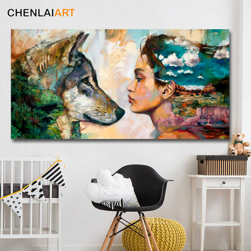 Canvas Prints Painting Abstract Modern Wolf and Girl Wall Art Animals Posters and Prints Pictures For Living Room No Frame