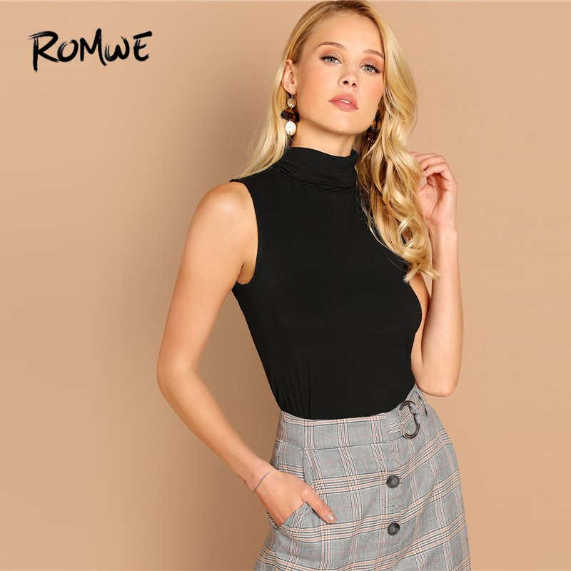 ROMWE High Neck Solid   Tank     Top   2019 Women Sexy Stylish Black Plain Spring Autumn Female Fashion Cool Girls Slim Fit Vest