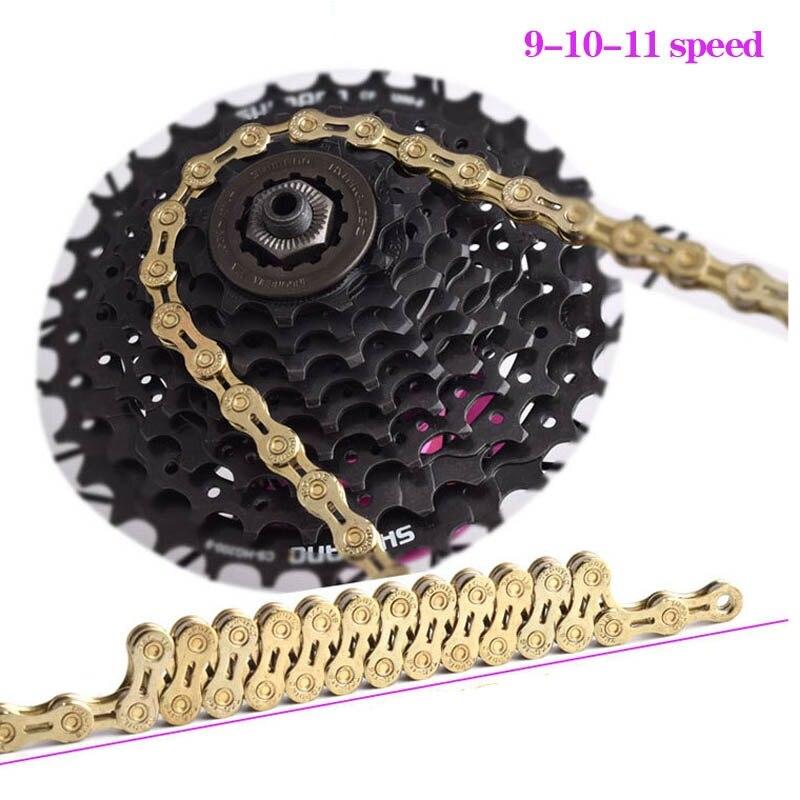 Chaîne vtt vélo de route 9 S 10 S 11 S creux Ultra léger 9 10 11 vitesses 116L chaîne vélo Compatible pour Shimano SRAM