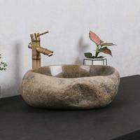 Creative natural stone wash basin garden retro above counter basin garden round cobblestone art basin bathroom washbasin
