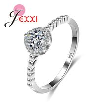JEXXI Factory Price High Quality 925 Stamped Sterling Silver Ring Romantic Women Cubic Zirconia Crystal Wedding Jewelry Rings(China)