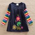 2017 розничная новый дизайн девушки цветок платья одежда горячие платья детские платья с длинным рукавом детская одежда H5802