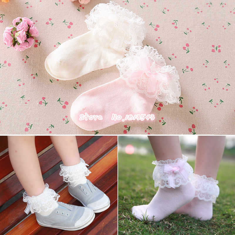 New 2017 children girls ribbon bow double lace socks with lttle pearl cute beautiful princess cotton socks 5 size S-M-L-XL-XXL