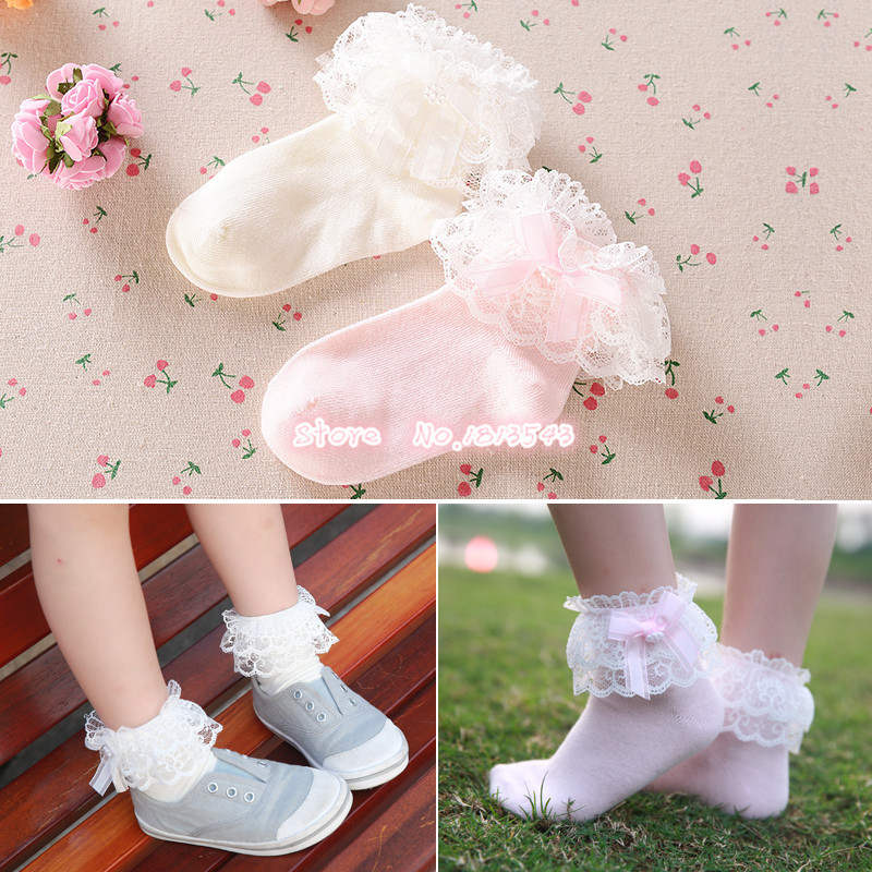 New 2018 children girls ribbon bow double lace socks with little pearl cute beautiful princess cotton socks 5 size S-M-L-XL-XXL