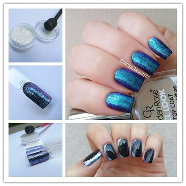1 Box 2ml Nail Art Multi Chrome Powder Chameleon Glitter Shiny