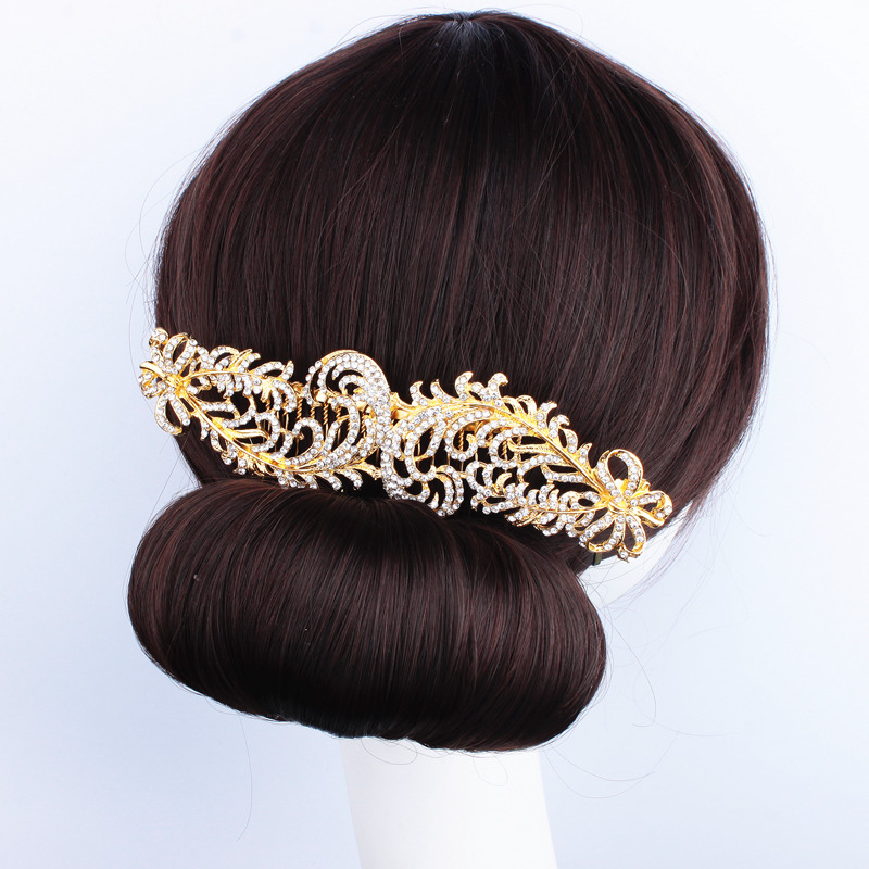 Wedding Hair Jewelry Bridal Sparkling Silver Gold Plated Crystal Rhinestone Feather Hair Combs Hairpin Hair Accessories