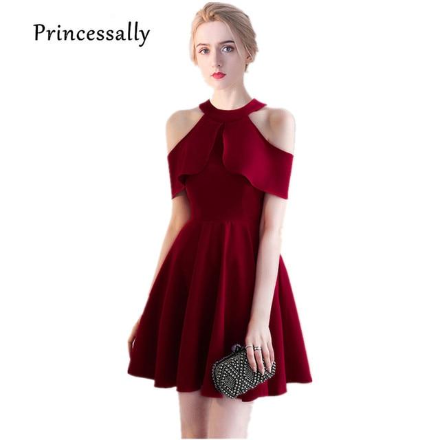 Visualizzza di più. Vestido De Noiva Nuovo Vino Rosso Abito Da Damigella  D onore Halter Collo Alto Chiffon 962aaf28656