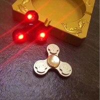 New Kids LED Gyro Finger Spinner Fidget Toy 3 Corner Lighting Alloy Fidget Hand Spinners For