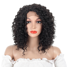 Aigemei 12inch  Curly Synthetic Lace Front Wigs For Women High Temperature Heat Resistant Fake Hair Cosplay
