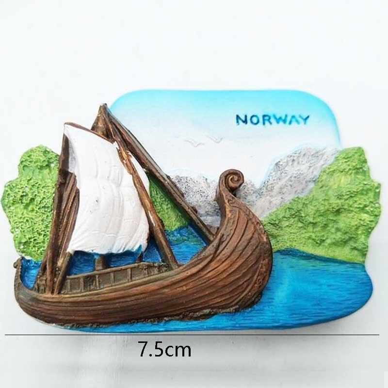 Norwegen Wald Märchen Oma Wolf 3D Kühlschrank Magneten Reise Souvenirs Dekoration Kühlschrank Magnetischen Aufkleber