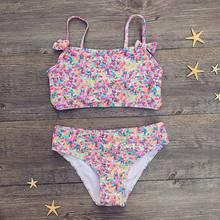 Милый комплект бикини с цветочным принтом и бантом для девочек, топы, плавки, купальный костюм для девочек, Chirldren, бикини