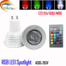 2016 new RGB LED Bulb E27 E14 GU10 5W rgb Lamp Light Led Spotlight rgb Bulb 16 Color Change Dimmable +24Keys Remote Controller