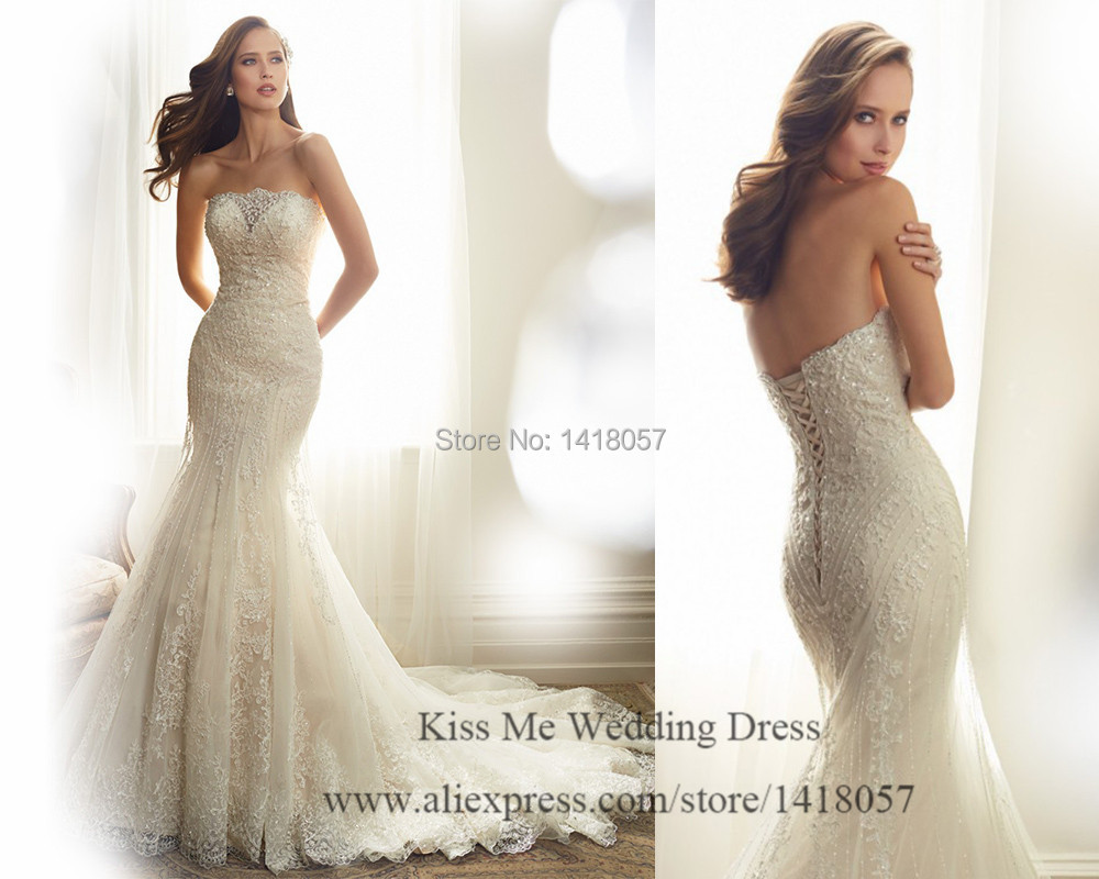 New Arrival Lace Wedding Dress 2015 Mermaid Bride Dresses