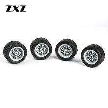 20 adet teknik tekerlek çapraz delik lastik 44309 Hub 56145 çocuklar için oyuncaklar MOC araba aksesuarı Technik tekerlekleri ve lastikleri yapı taşları