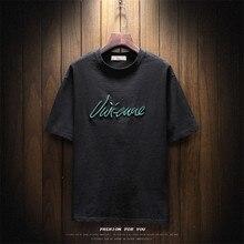 Корейская версия трендовой мужской новой повседневной мужской футболки с круглым вырезом на груди с английскими буквами, большие размеры, тонкая футболка