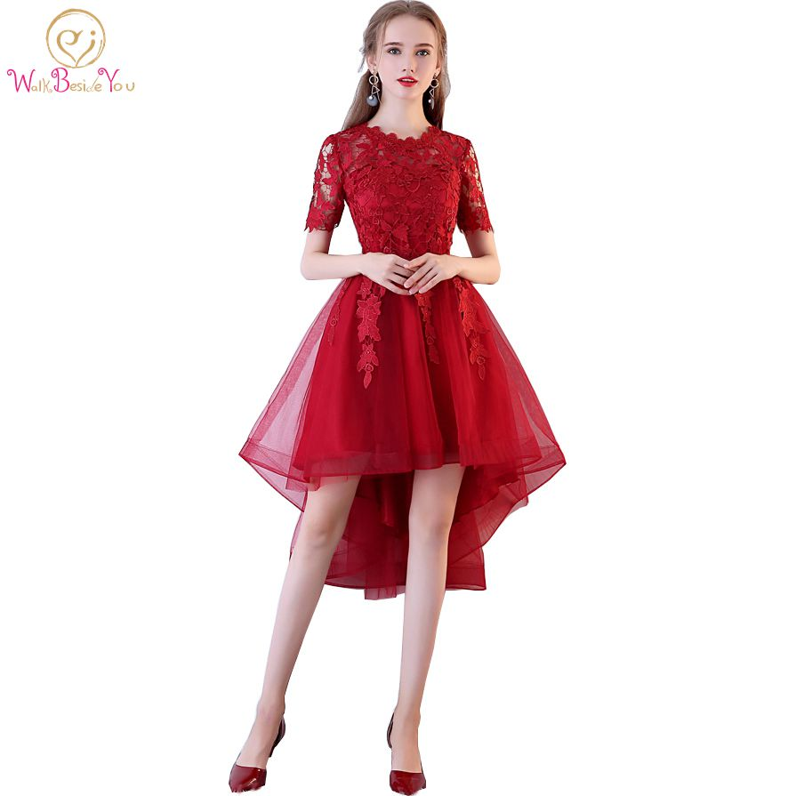 Walk Beside You Burgundy   Prom     Dresses   Lace Short Front Long Back Evening Gowns Pregnant Short Sleeves Birth Graduation vestido