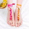 Пляж ювелирные изделия браслеты для женщин Лента Floweranklet Leavs ножной браслет браслет ног ювелирные изделия ножной браслет цепи босиком сандалии для Бижутерии