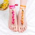 Joyería tobilleras para las mujeres de playa Cinta Floweranklet Leavs pulsera tobillera cadena de la joyería del pie tobillera sandalias descalzas para Bijoux